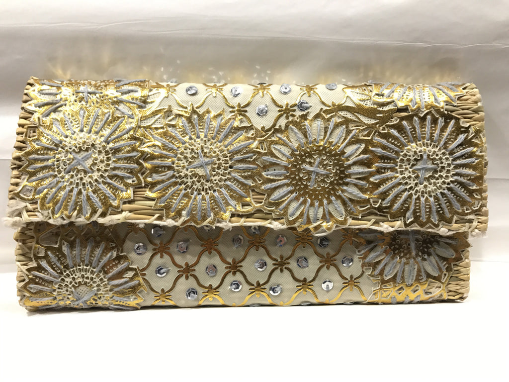 Gold Floral Sequin and Embroidered Small Clutch