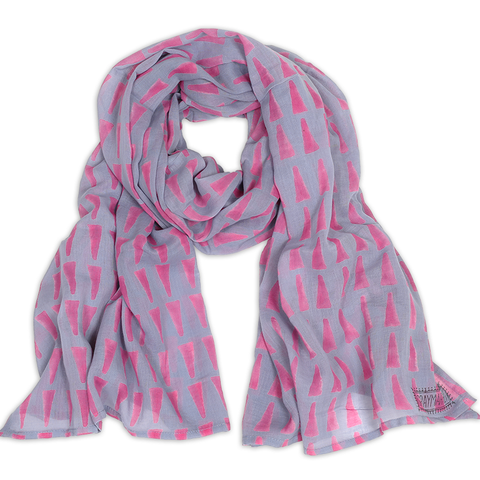 Hand-Blocked Printed Cotton Voile Scarves - Bari Lilac