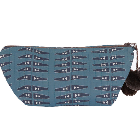 Hand-Blocked Printed Cotton Makeup Pouch - Anabel Blue