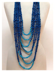 Multi Strand Long Indian Sari Fabric Statement Necklace NEW!!