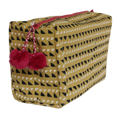 Hand-Blocked Printed Cotton Toiletry/Cosmetic Bags - Trinidad Mustard