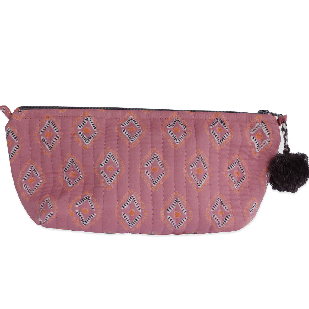 Hand-Blocked Printed Cotton Makeup Pouch - Essa Rose/Tangerine