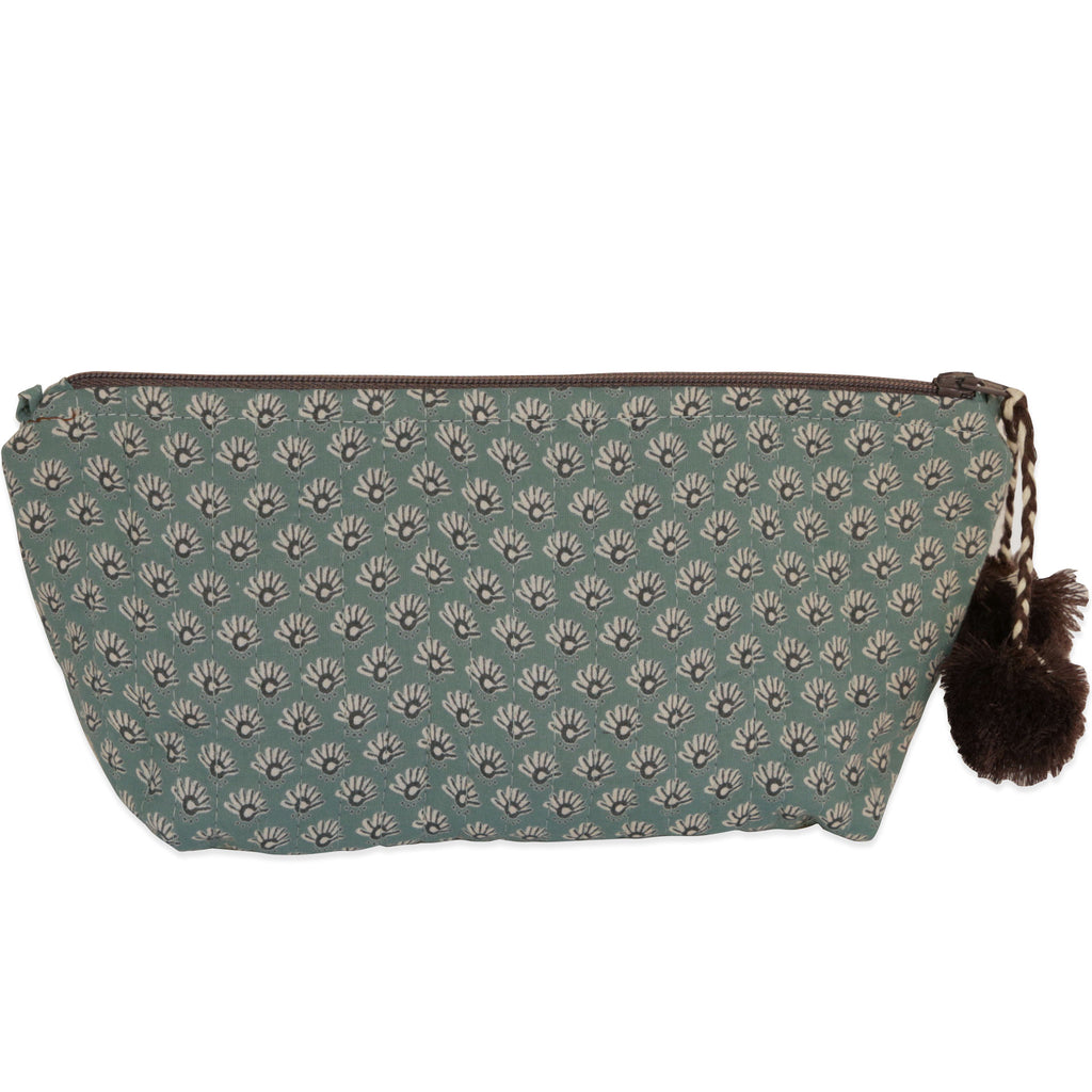 Hand-Blocked Printed Cotton Makeup Pouch - Celeste Sea Foam