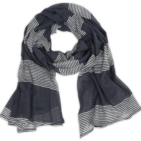 Hand-Blocked Printed Cotton Voile Scarves - Raya Navy NEW