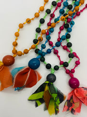 Acai, Tagua and Recycled Sari Long Weave Necklace
