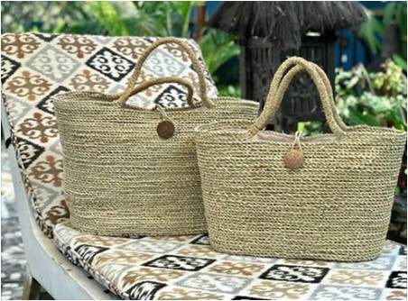 Natural Rolled Pandan Leaf Baskets New!