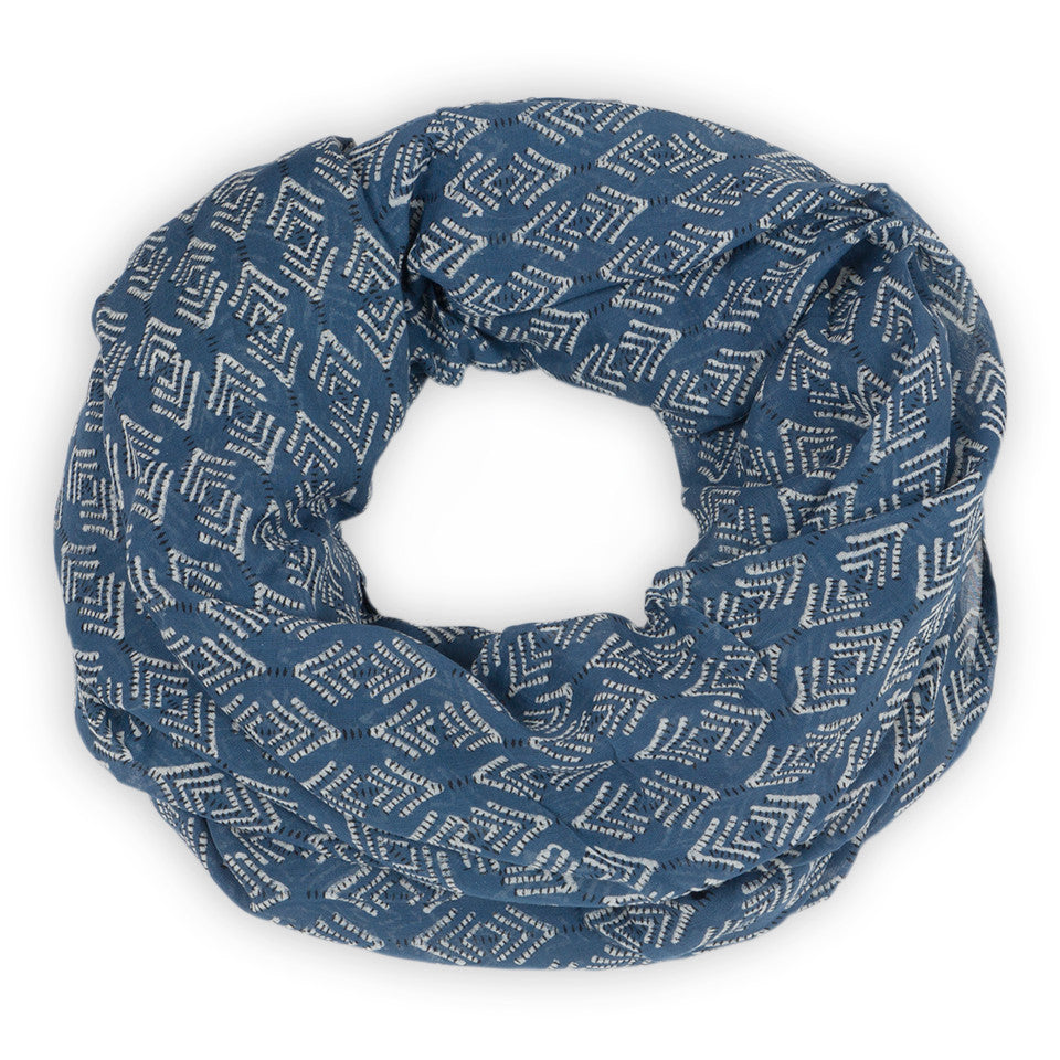 Hand-Blocked Printed Cotton Voile Scarves - Lamba Indigo
