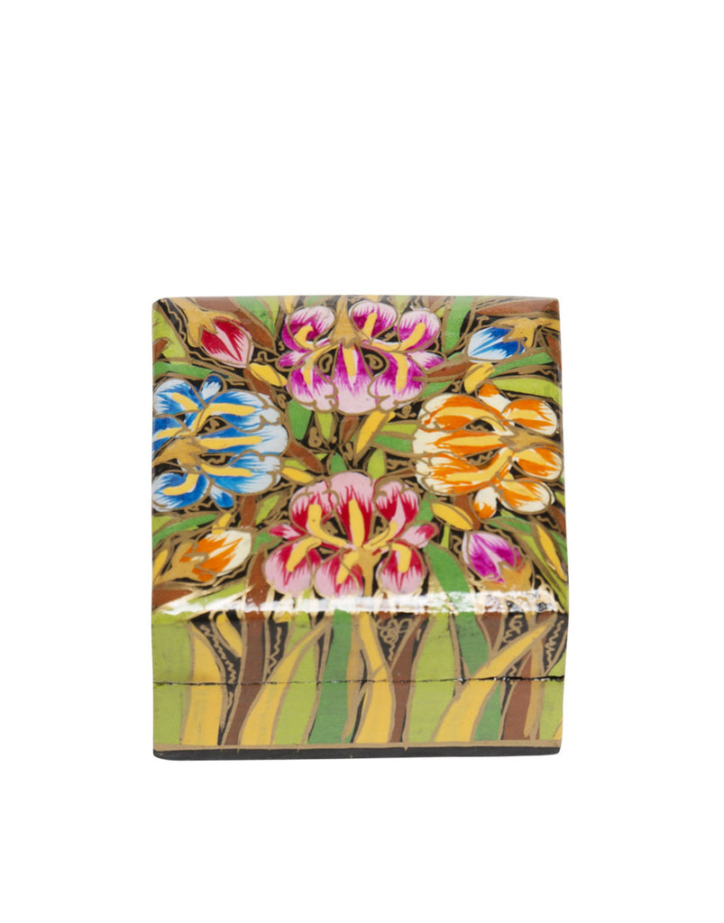 Hand Painted Mini Square Floral Boxes Multi Orchid