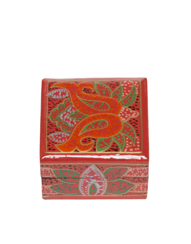 Hand Painted Mini Square Floral Boxes Red Multi