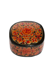 Hand Painted Floral Oval Bubble Boxes Red Rose