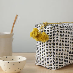 Hand-Blocked Printed Cotton Toiletry/Cosmetic Bags - Sun Spot
