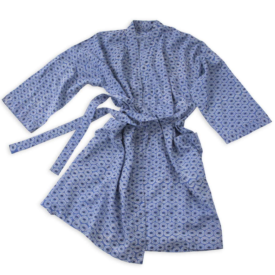 Hand-Blocked Printed Cotton Robe - Tangier Indigo NEW!
