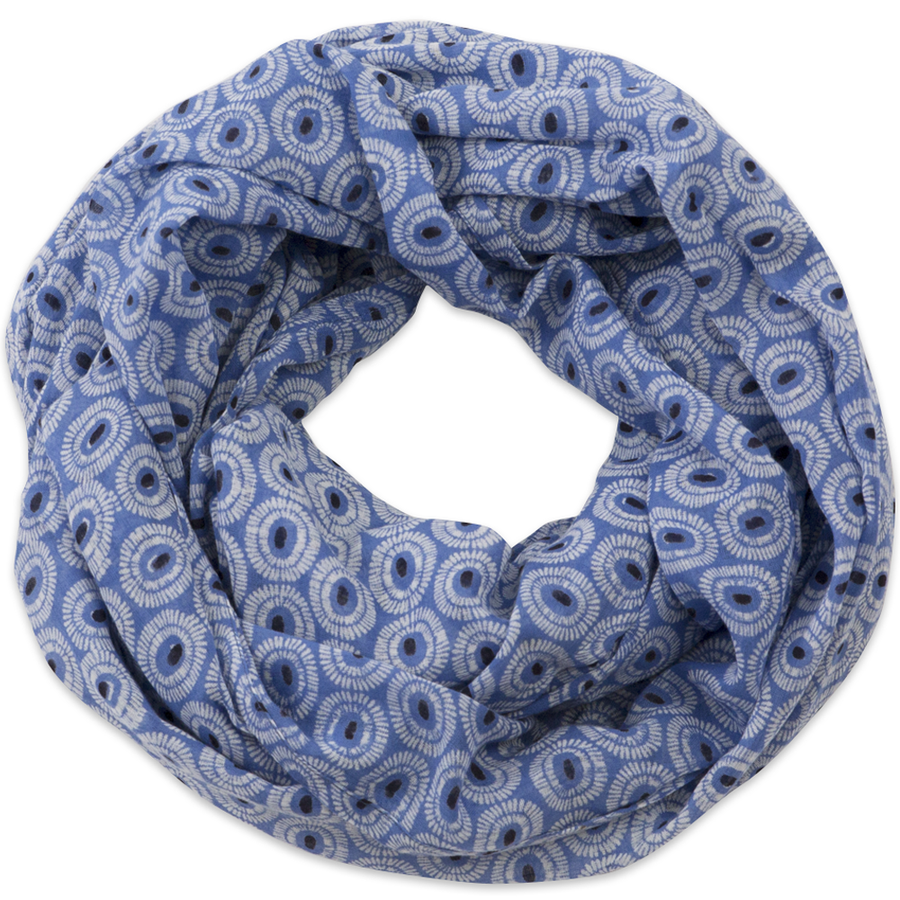 Hand-Blocked Printed Cotton Voile Scarves - Tangier Indigo NEW!