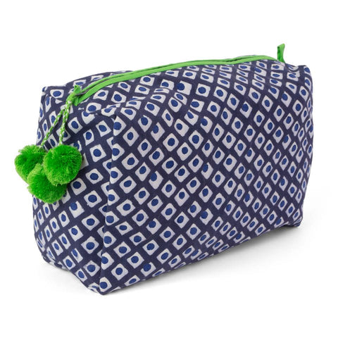 Hand-Blocked Printed Cotton Toiletry/Cosmetic Bags - Tica Royal NEW!