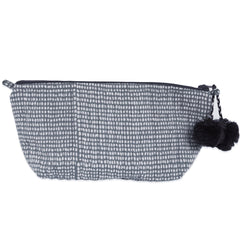 Hand-Blocked Printed Cotton Makeup Pouch - Tiny Dot Storm