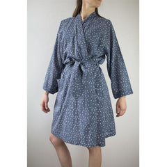 Hand-Blocked Printed Cotton Robe -  Troye Ocean