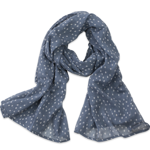 Hand-Blocked Printed Cotton Voile Scarves - Troye Ocean NEW!