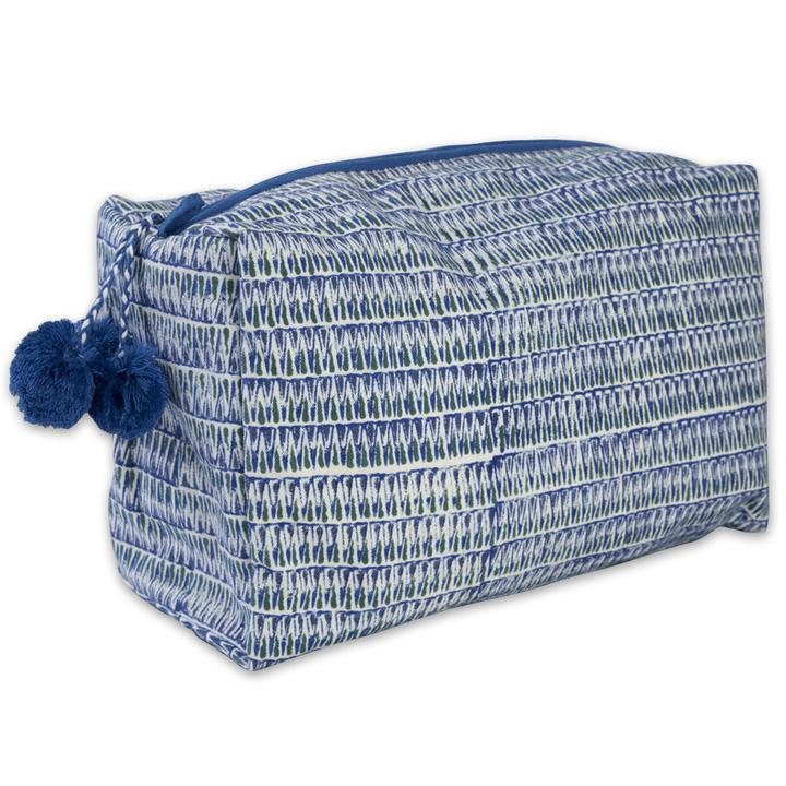 Hand-Blocked Printed Cotton Toiletry/Cosmetic Bags - Tula Blue