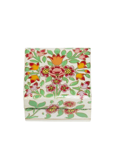 Hand Painted Mini Square Floral Boxes Milky White Multi