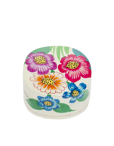 Hand Painted Floral Oval Bubble Boxes White Multi Wildflower