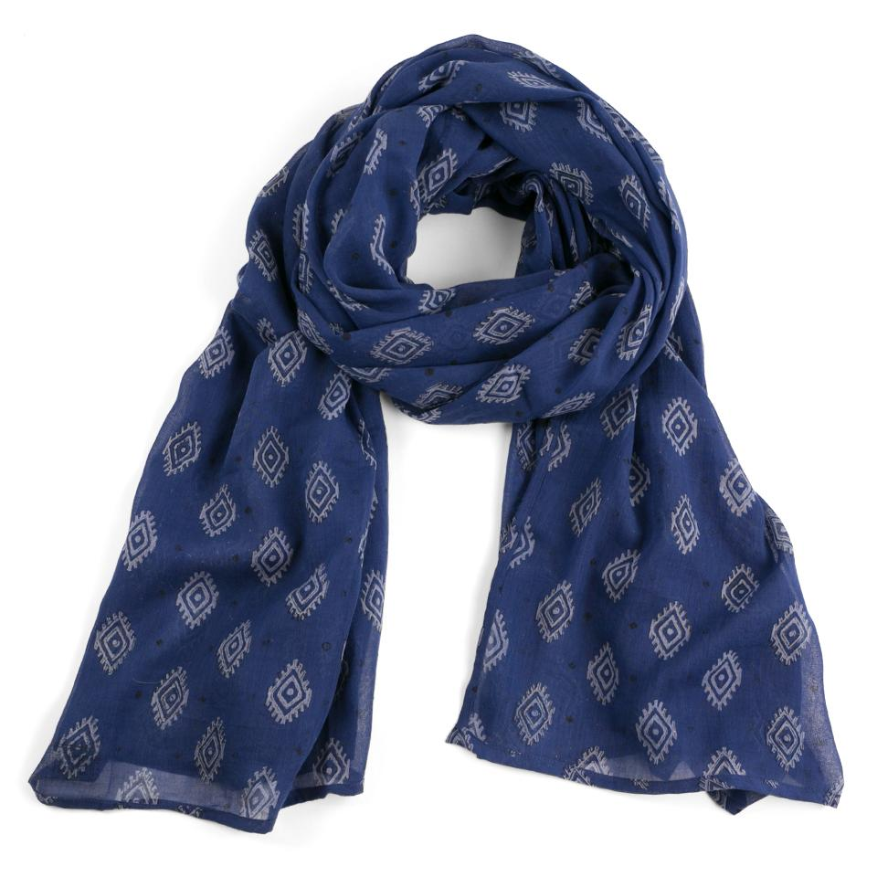 Hand-Blocked Printed Cotton Voile Scarves - Zelda Midnight NEW!