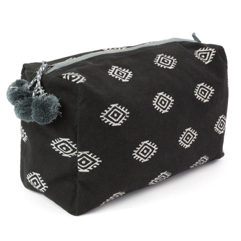 Hand-Blocked Printed Cotton Toiletry/Cosmetic Bags - Zelda Midnight NEW!