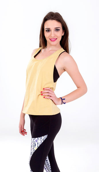 Yellow Tank Top, Top Yoga, Free Wear, Free Flying Fish, Organic Clothing, Fair Trade Clothing, Unique Clothing, Cotton, Yoga Clothes, Yoga Women, Vegetable Dye