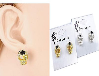 Fashion Skull Earrings Star Rhinestone Gold Silver Stud