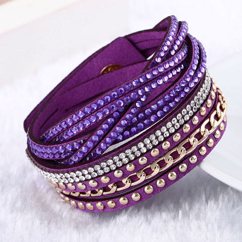 Purple Vintage Multilayer Leather Bracelet
