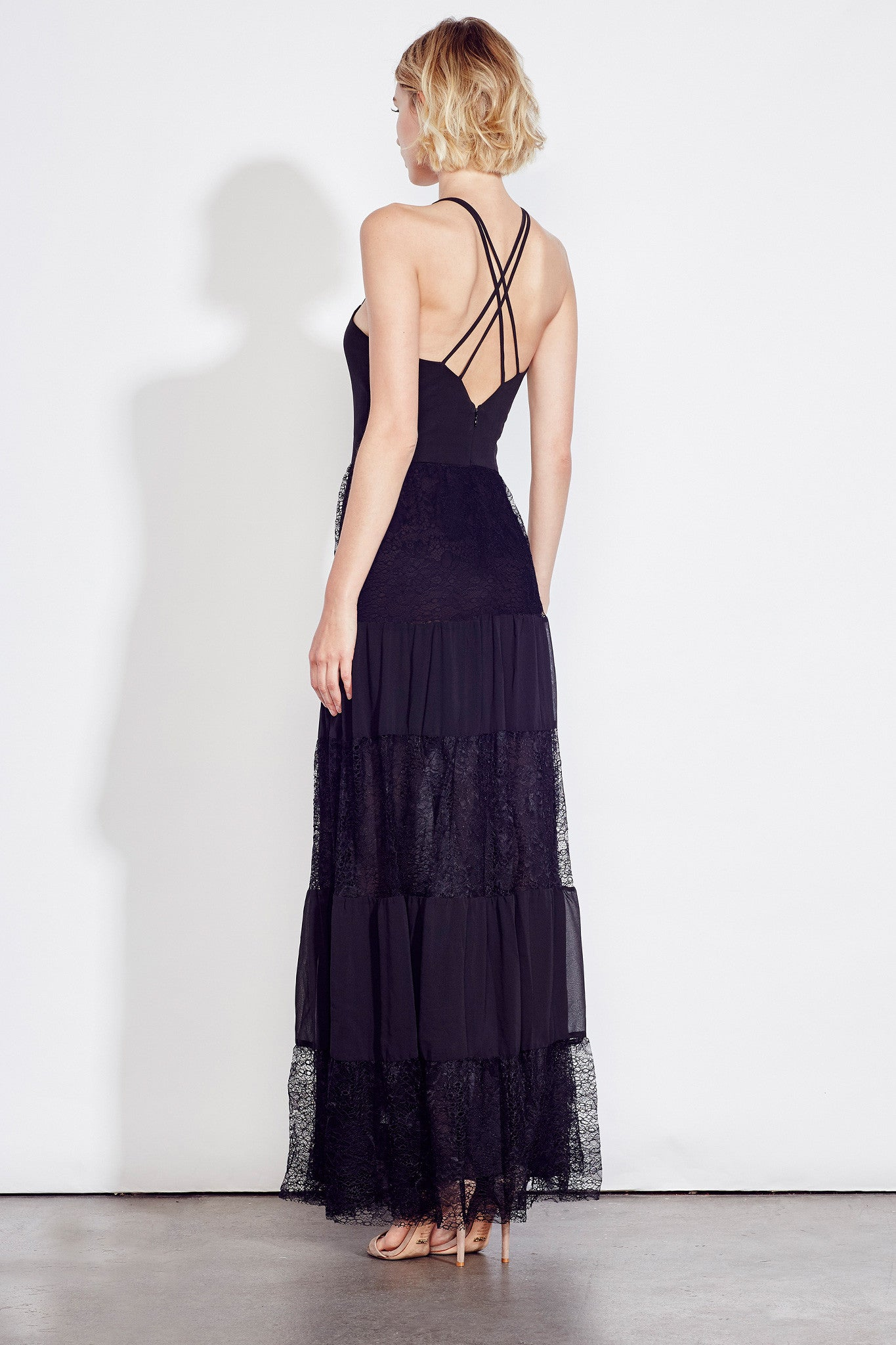 Lace Panel Gown in Black