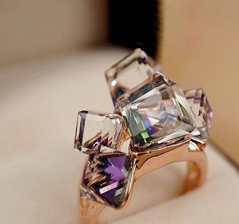 Purple Square Austrian CrystaI Ring