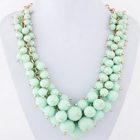 Green Colour Candy Grape Stone Beard Necklace For Women