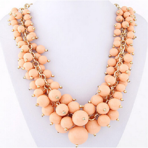 Pink Colour Candy Grape Stone Beard Necklace For Women