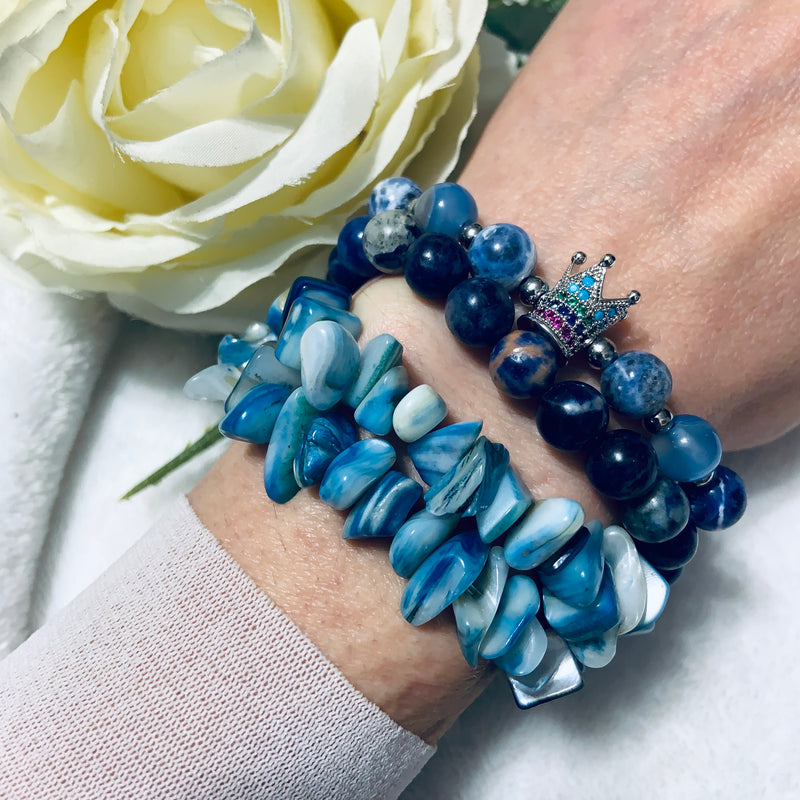 "Sodalite Beaded Bracelet Hand Knotted with Sterling Silver, ""The Queen"""