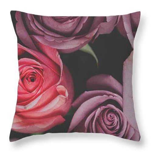 Pink Roses for Unconditional Love - Throw Pillow