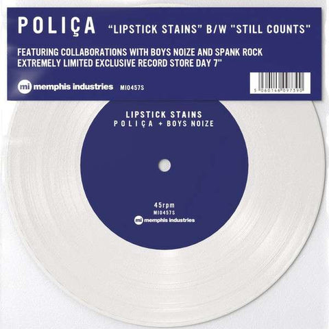 "Polica - Lipstick Stains / Still Counts (White Vinyl 7"")"