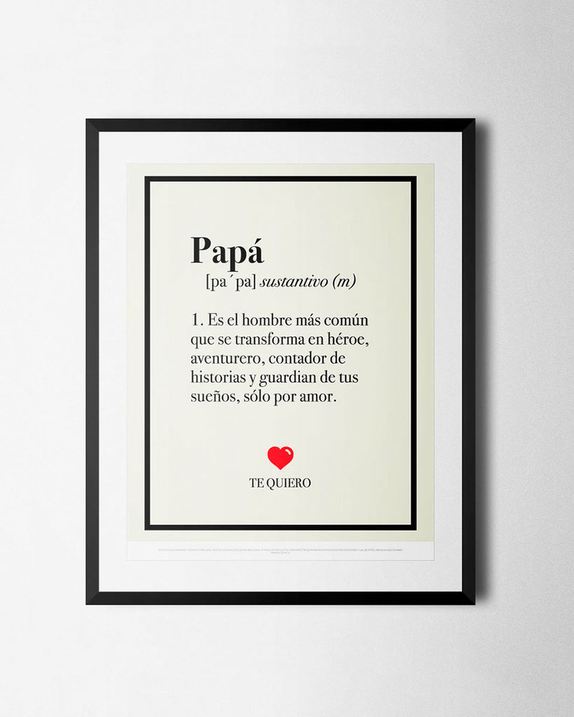 Cuadro Definición de Papá de The Build Love Company® en www.thebuildlove.co