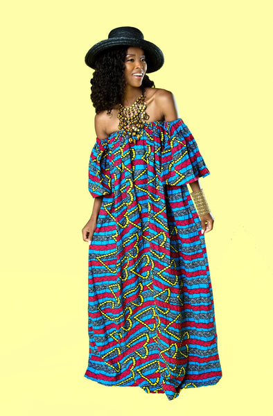 African Print Oye Maxi Dress - Blue