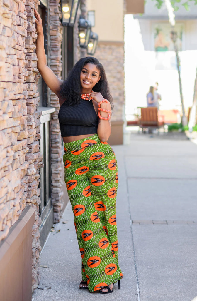 African Print Wide Leg Pant - Green