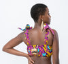 African Print Imose Crop Top - Purple
