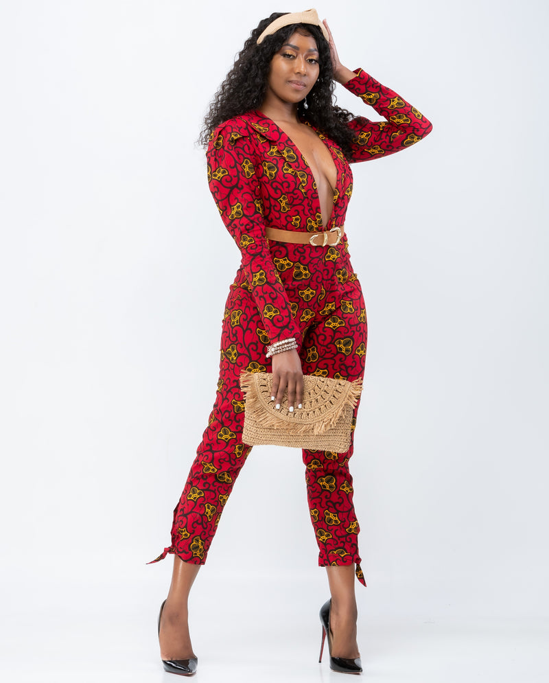 Too Fine African Print Jumpsuit  - Red