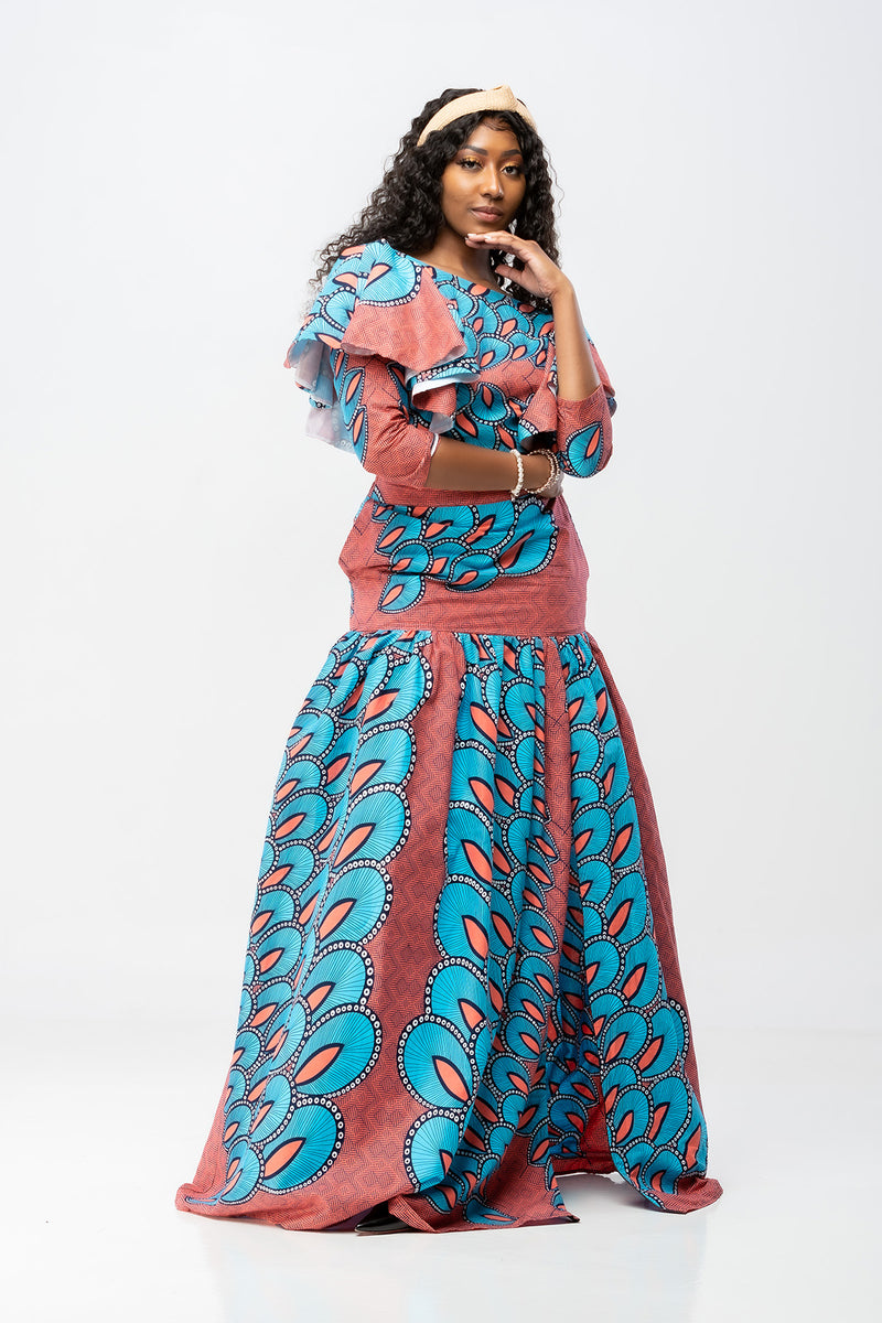 African Print Long Sleeve Imose Set - Blue