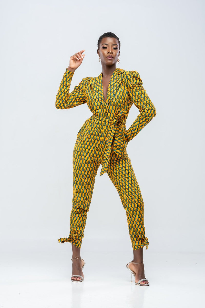 Too Fine Frican Print Jumpsuit -Yellow