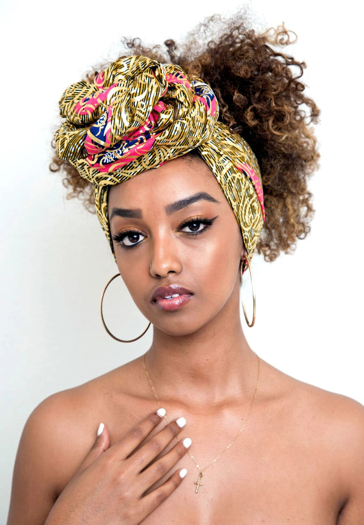 African Print Reversible Headwrap - Gold