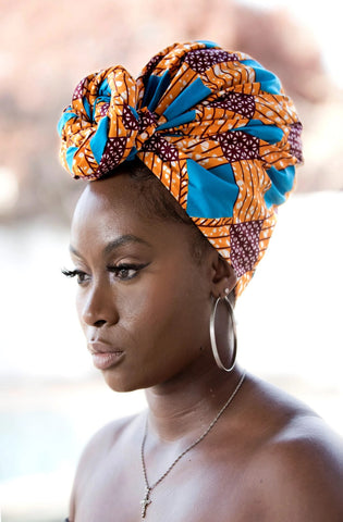 African Print Headwrap - Orange and Blue