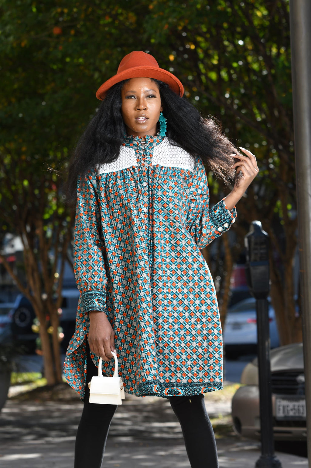African Print  Bose Shirt Dress - Blue