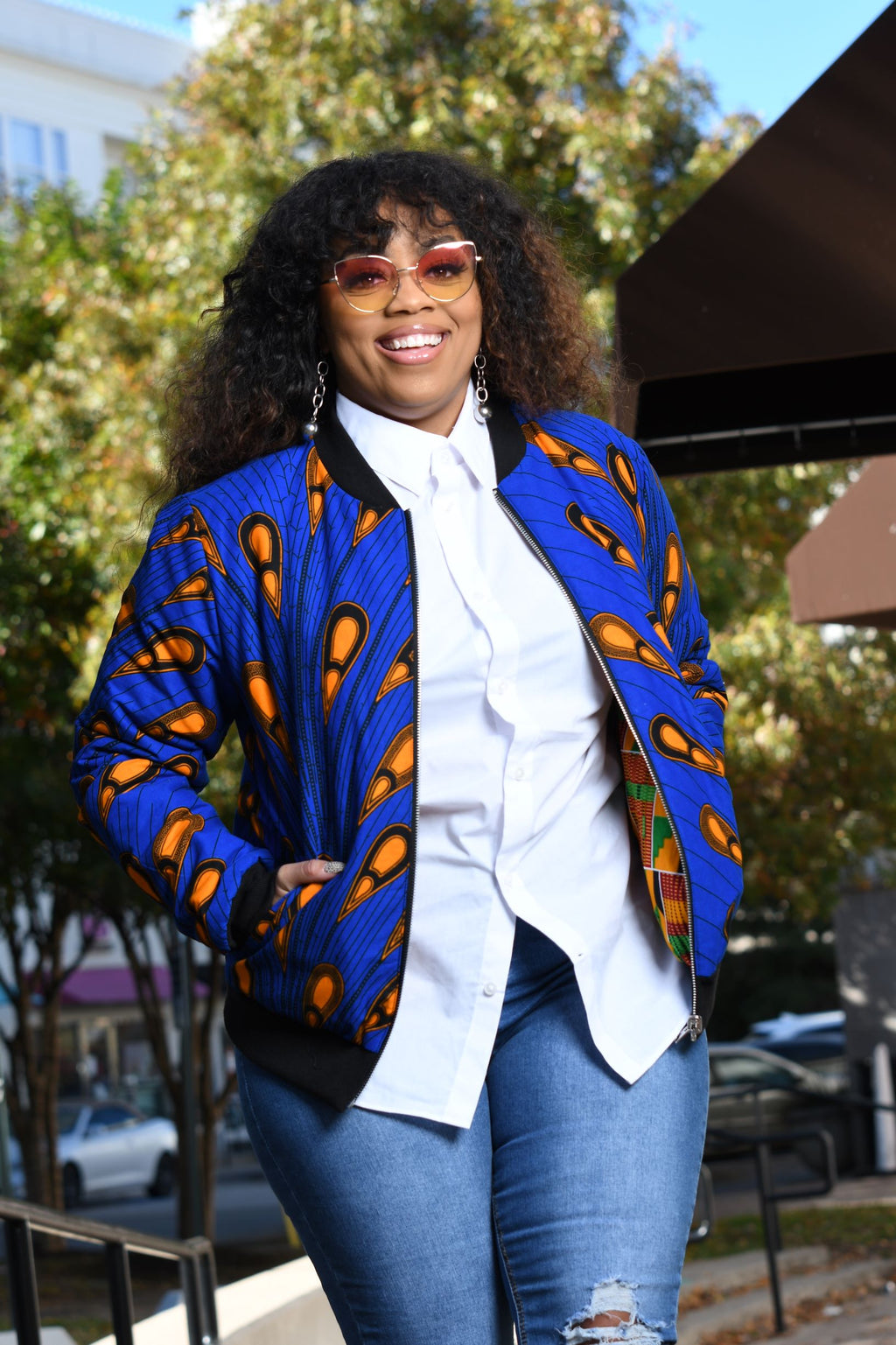 African Print Reversible Bomber Jacket -  Royal Blue