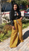 African Print Wide Leg Pant - Yellow