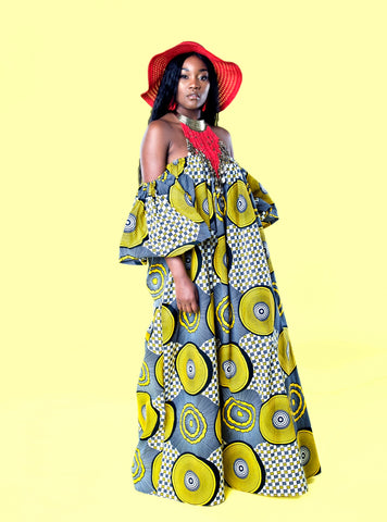 African Print Oye Maxi Dress - Yellow