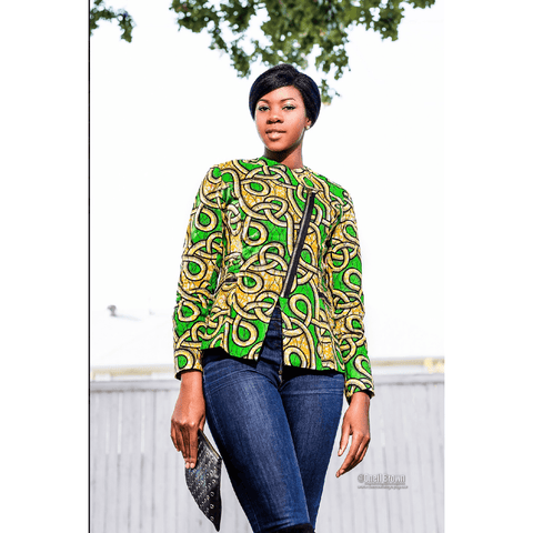 Nia African Print Jacket - Green